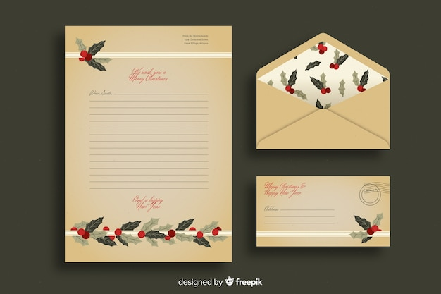 Vintage christmas stationery template Free Vector