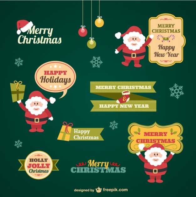 Vintage Christmas stickers collection Free Vector