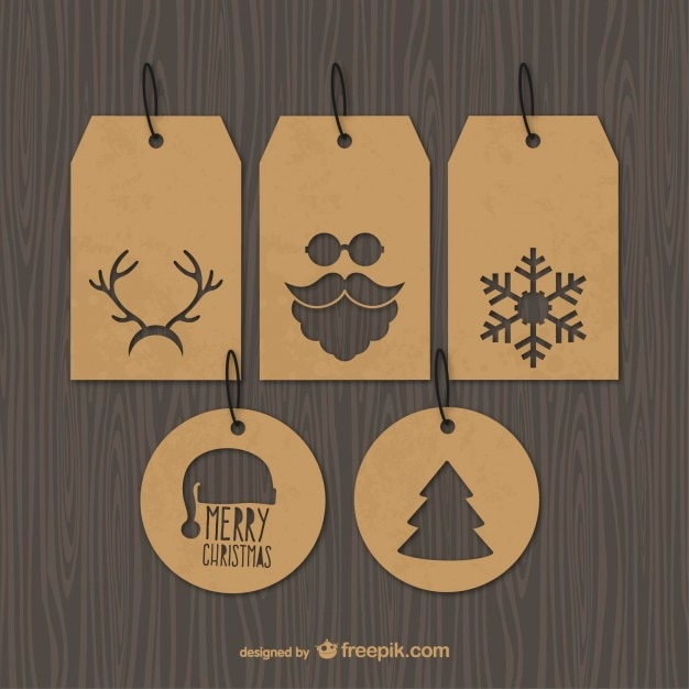 Vintage Christmas tags Vector | Free Download