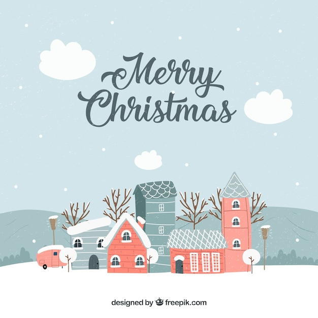 Vintage christmas town in grey tones with red buildings Free Vector