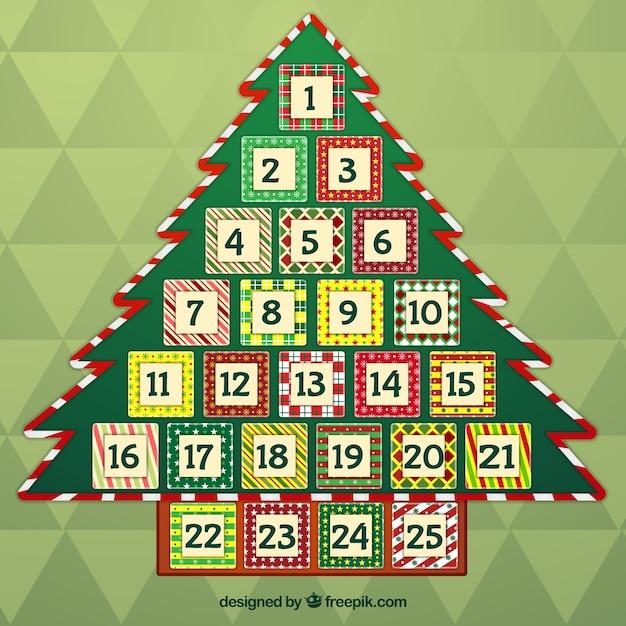 Vintage Christmas Tree Advent Calendar Free Vector