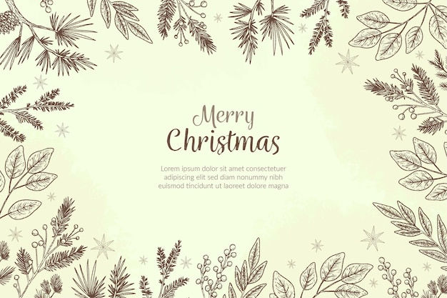 Vintage christmas tree branches background Free Vector