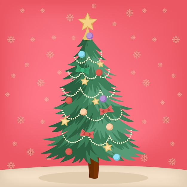 Vintage christmas tree concept Free Vector