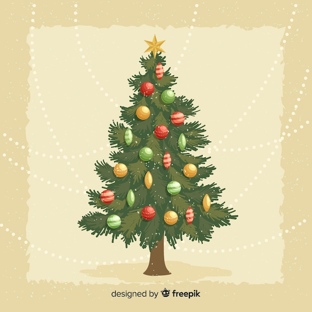 Christmas Tree Illustration.Vintage Christmas Tree Illustration Vector Free Download