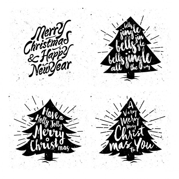 Vintage christmas tree silhouettes with messages Vector | Free ...