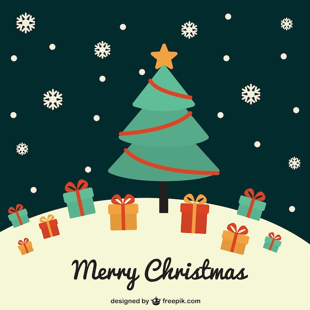 Vintage Christmas Tree Vector Vector | Free Download