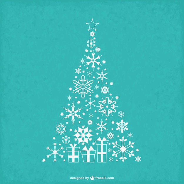 Vintage Christmas tree with snowflakes