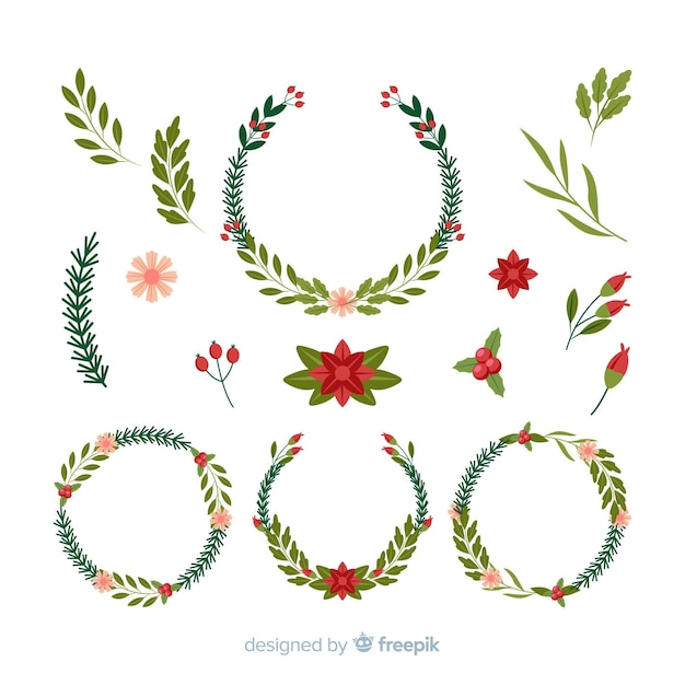 Vintage christmas wreath collection Free Vector
