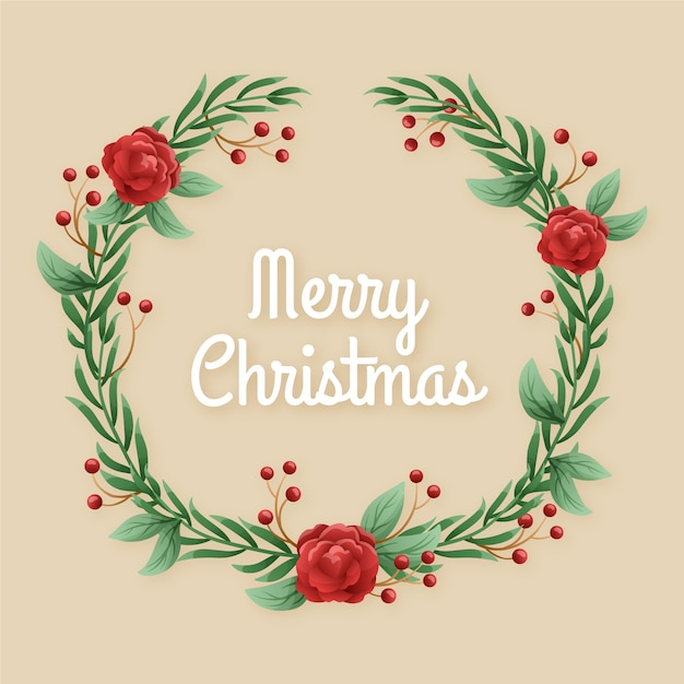 Vintage christmas wreath concept Free Vector