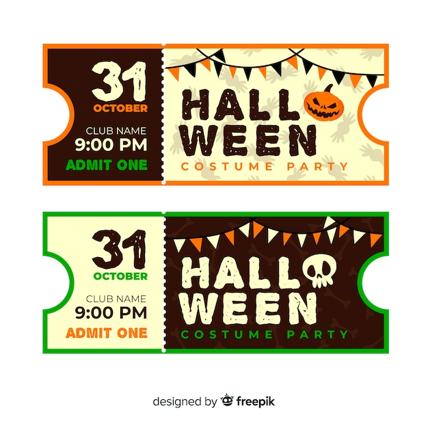 Vintage cinema tickets for halloween Free Vector