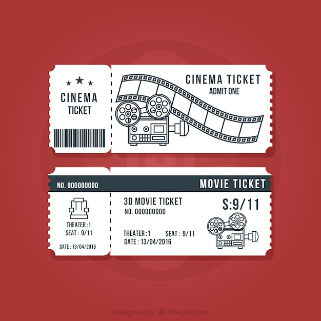 Vintage cinema tickets set Free Vector