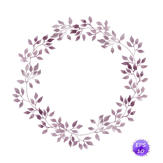 Vintage circle wreath with laurel leaves. watercolor Premium Vector