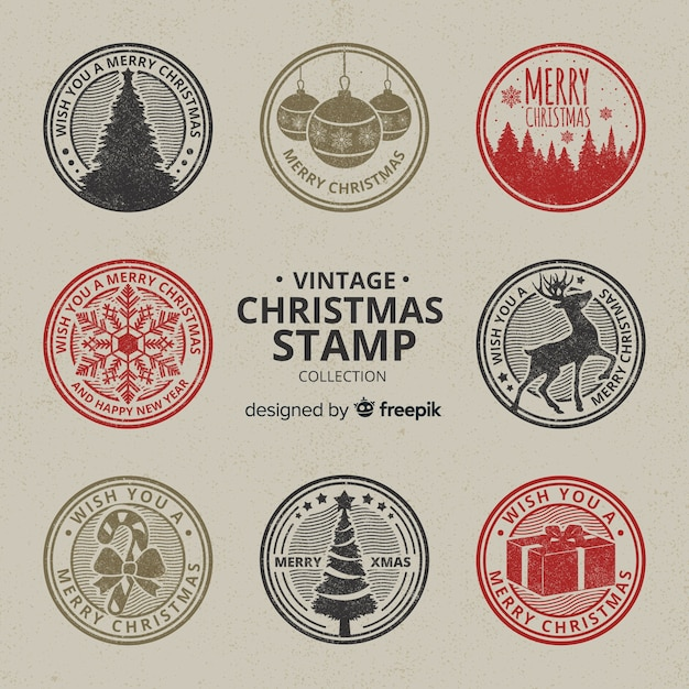 Vintage circled christmas stamps colllection Free Vector