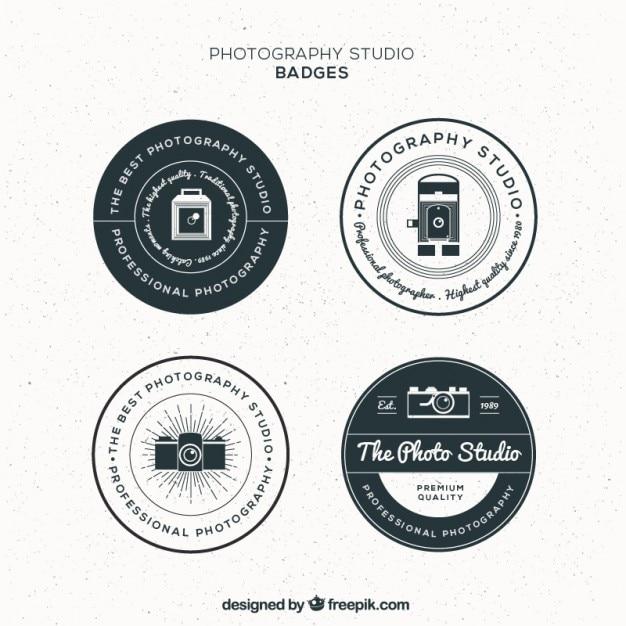 Vintage circular photography studio badges