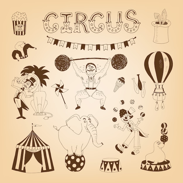Vintage circus elements for poster design with elephant and lion tamer Free Vector