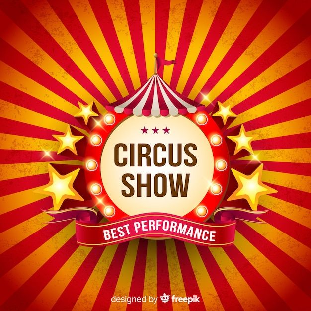 Vintage circus light sign background Free Vector