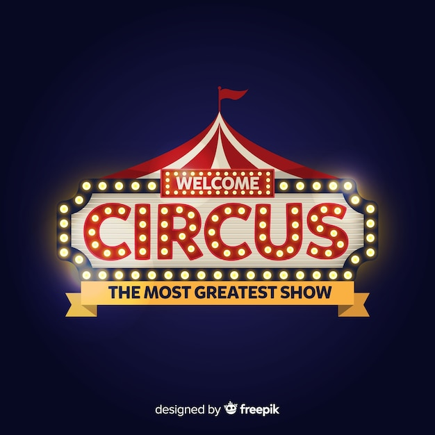 Vintage circus light sign Free Vector