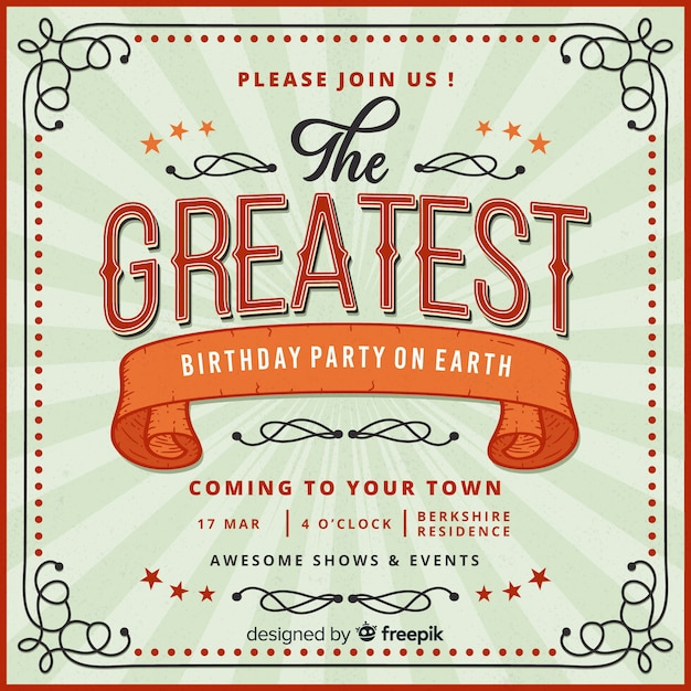 Vintage circus party invitation card template Free Vector