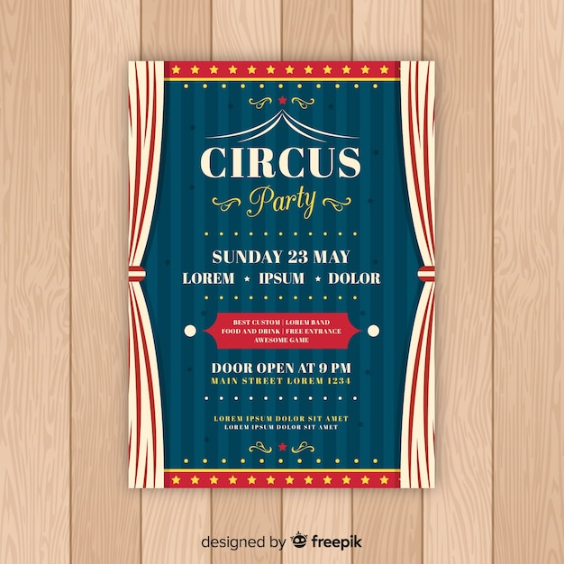 Vintage Circus Party Invitation Card Template Vector Free