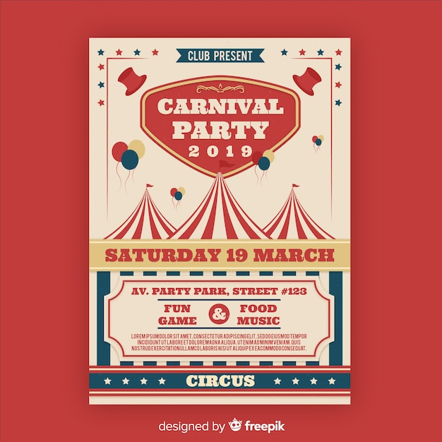 Vintage Circus Party Invitation Card Vector Free Download