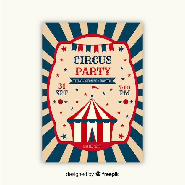 Vintage circus party invitation card Free Vector