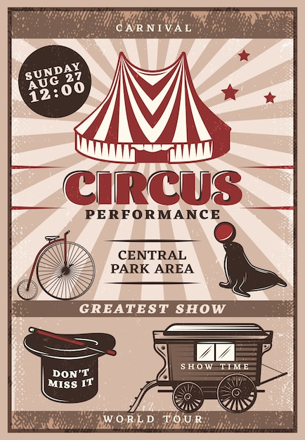 Poster vintage delle prestazioni del circo Vettore gratuito