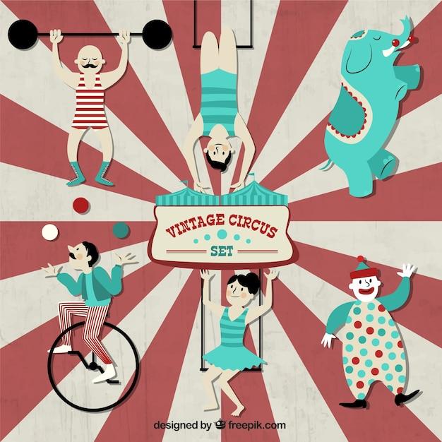 Vintage circus set Free Vector