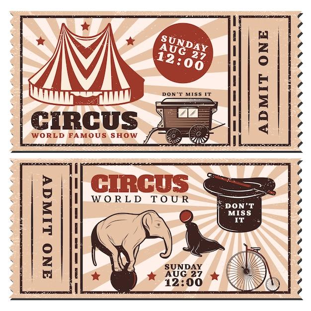 Горизонтальные рекламные билеты на винтажное цирковое шоу Бесплатные векторы