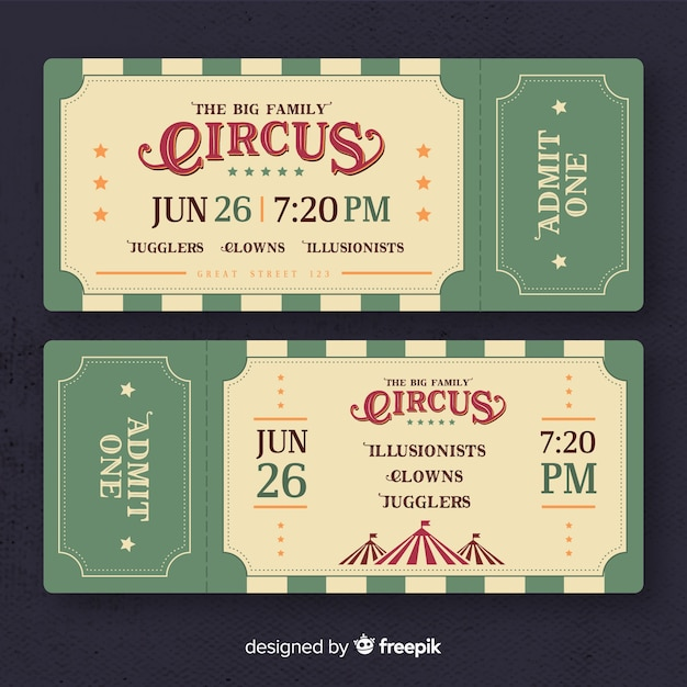 Vintage circus ticket Free Vector