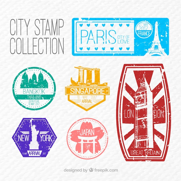 Vintage city stickers set free vector