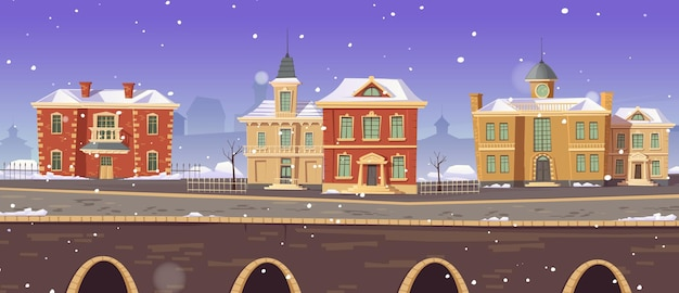Vintage city winter street with european colonial victorian buildings and lake promenade Free Vector