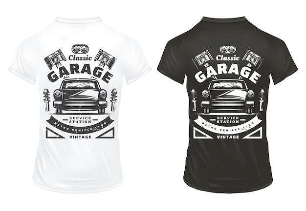 Старинные классические автомобили гаражные сервисные принты с надписями ретро автомобильные фары поршни двигателя амортизаторы на изолированных рубашках Бесплатные векторы