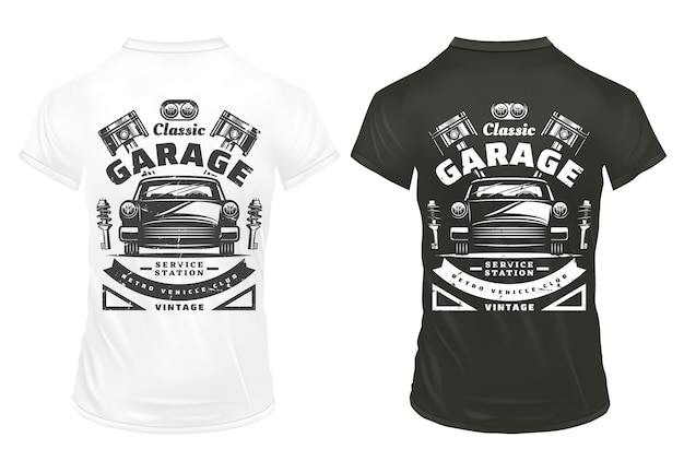 Vintage classic cars garage service prints with inscriptions retro automobile headlights engine pistons shock absorbers on shirts isolated Free Vector