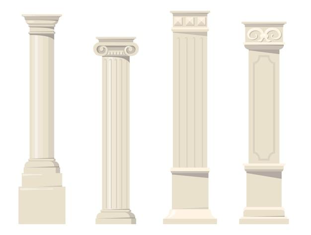 Винтажные классические резные архитектурные колонны плоский набор. мультяшные римские, ренессансные или барочные колонны для внутренней изолированной векторной коллекции. концепция дизайна и отделки здания Бесплатные векторы