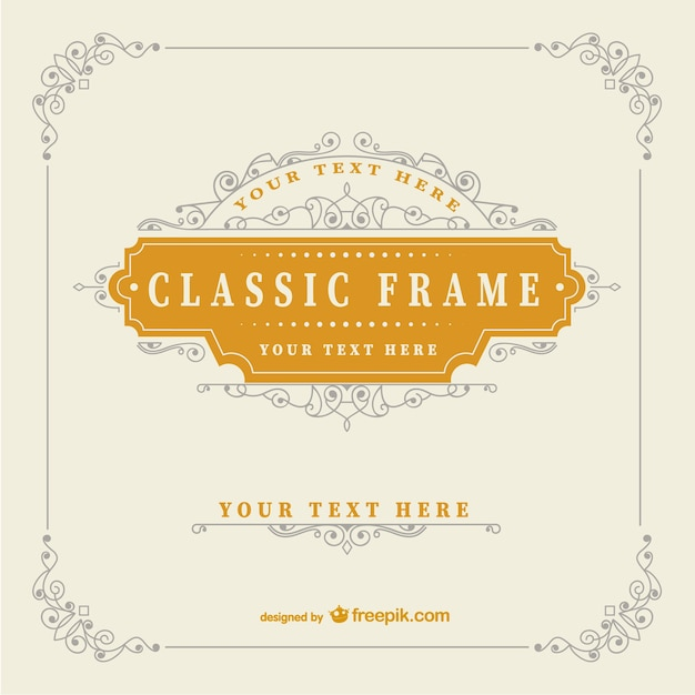Vintage classic frame template Vector | Free Download