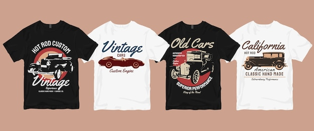 Vintage classic retro car t shirt  bundle Premium Vector