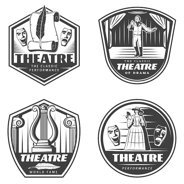 Set di emblemi del teatro classico vintage Vettore gratuito