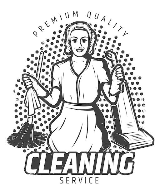 Illustrazione di servizio di pulizia d'epoca Vettore gratuito