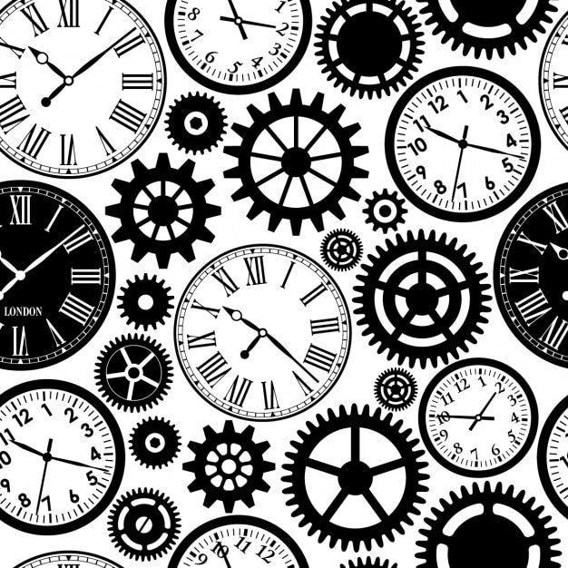 Vintage Clocks Pattern Free Vector