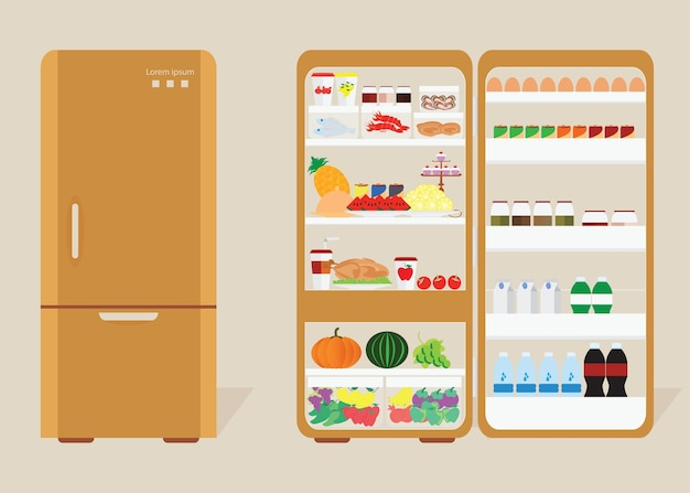 Vintage closed and opened refrigerator Premium Vector