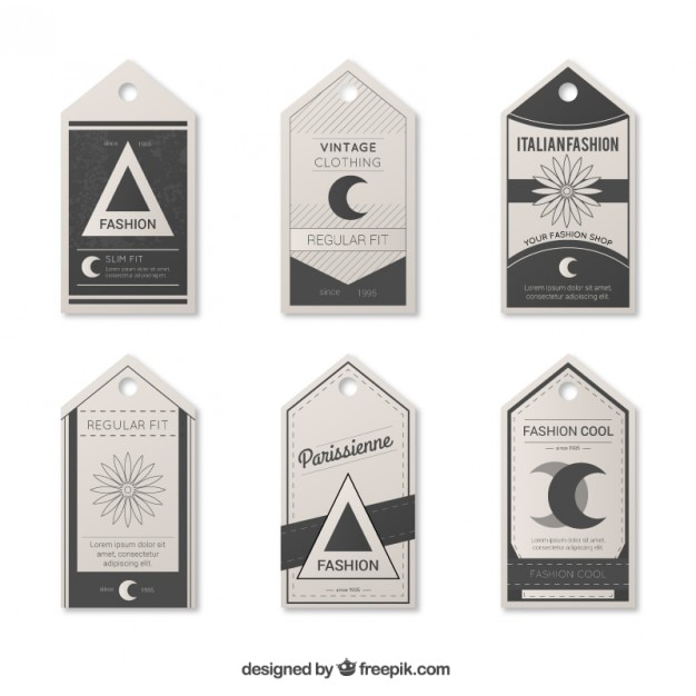 vintage clothing tags vector free