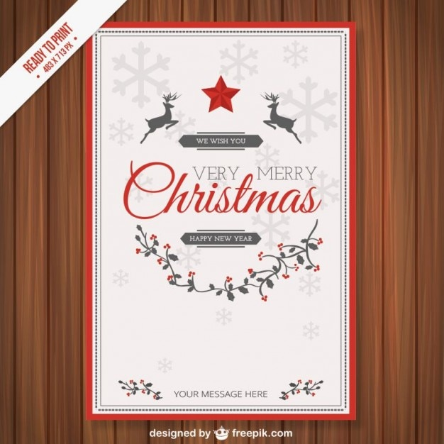 Awesome Vintage CMYK Christmas Card Template Free Vector