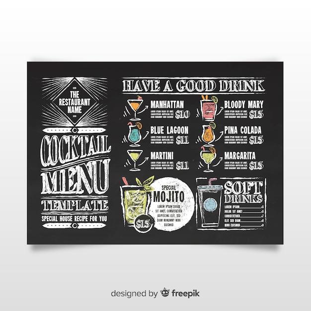 Vintage cocktail menu template Free Vector