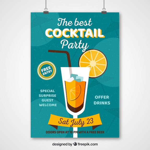Vintage cocktail party poster Vector | Free Download