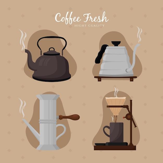 Коллекция старинных методов приготовления кофе Бесплатные векторы