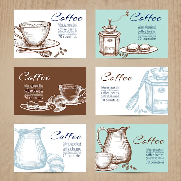 Vintage coffee cards banners set Free Vector