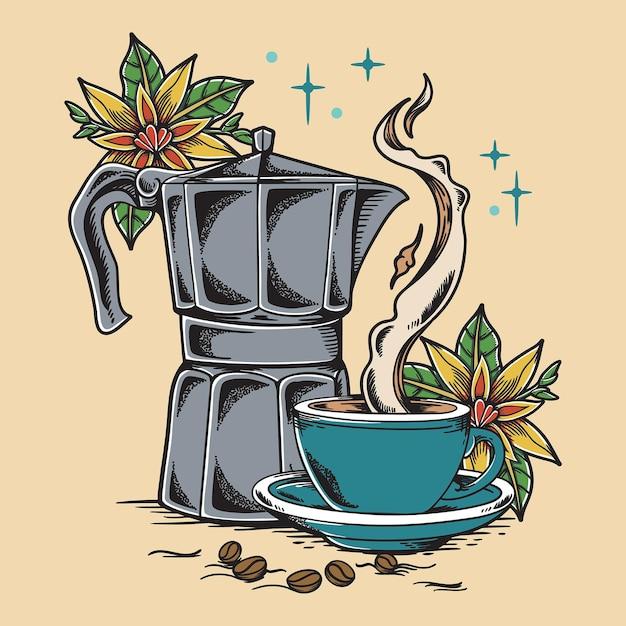 Винтаж кофе иллюстрация Premium векторы