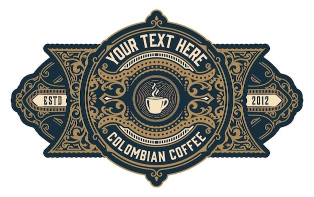 Logo cà phê cổ điển với đồ trang trí baroque đặt