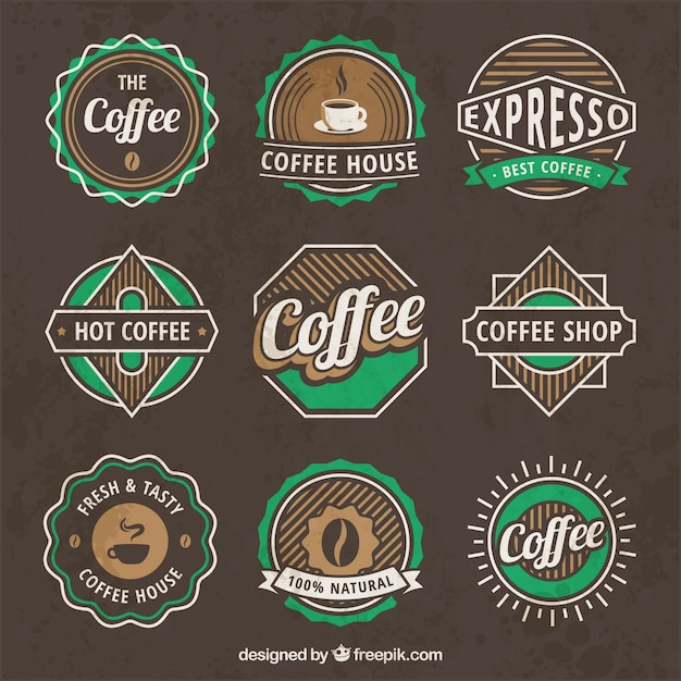 Vintage coffee logos Free Vector