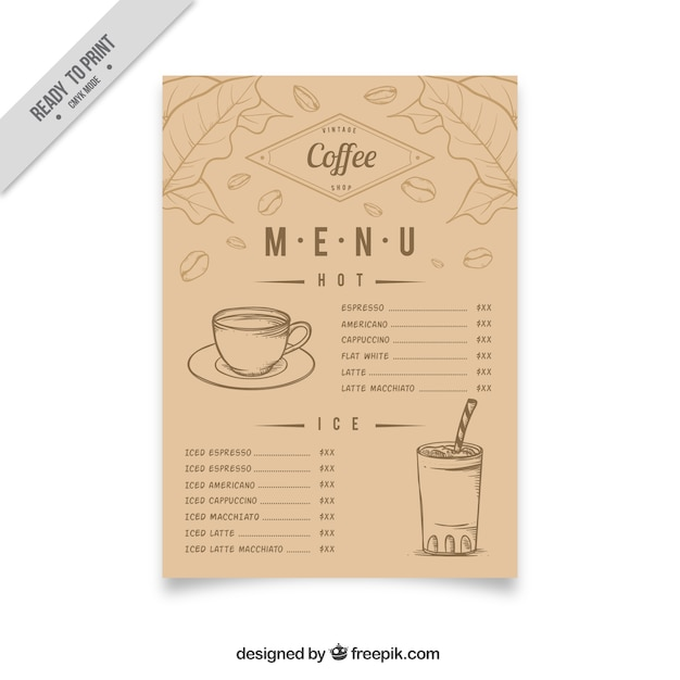 Vintage coffee menu with sketches Free Vector